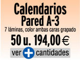 Oferta Calendarios pared  A-3, 7 láminas a color, 2 caras,  29,7x42 cm., encuadernado tipo revista